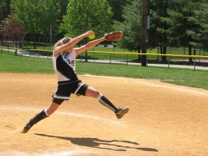 Pitcher striding off pitching rubber