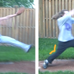 Comparison of drive through technique in windmill pitching