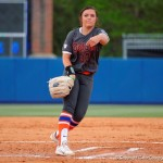 """Florida Gators pitcher Delanie Gourley throws to the plate during the second inning.  Florida Gators Softball vs South Carolina Gamecocks.  April 4th, 2015. Gator Country photo by David Bowie. """